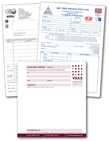 photo of business forms designed and printed by Hampshire Press