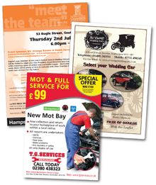 flyers designed and printed by Hampshire Press
